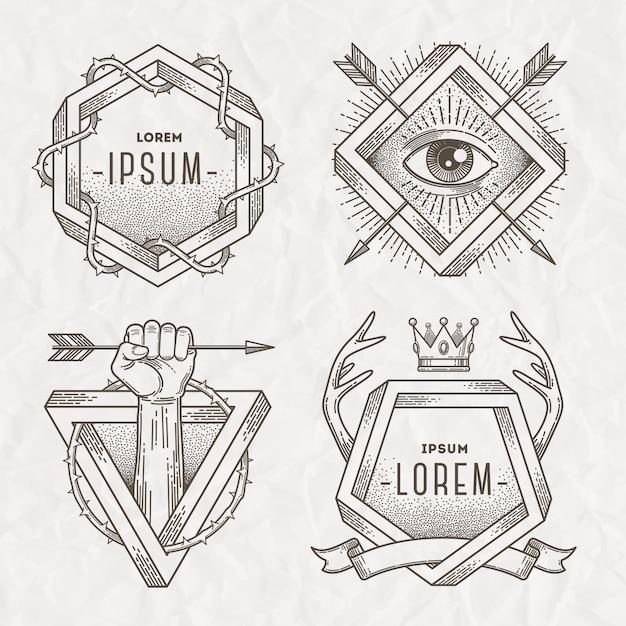 Tatuagem estilo linha arte emblema com elementos heráldicos e forma impossível - ilustração Vetor Premium