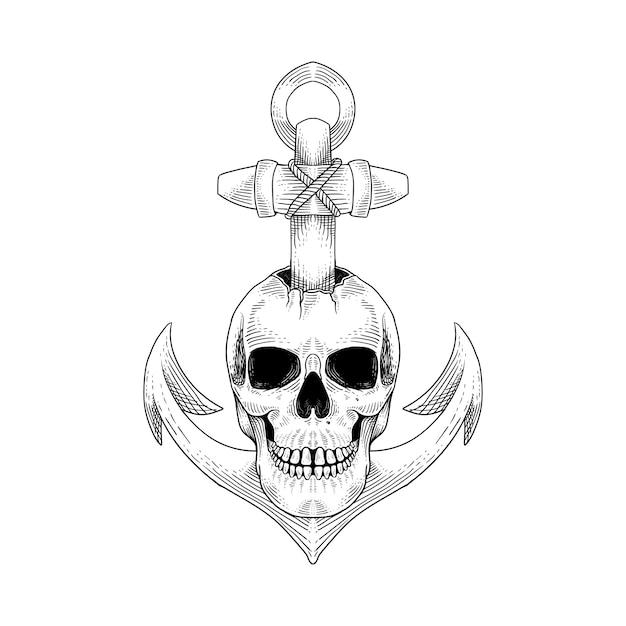 Tatuagem et camiseta design caveira mão ilustrações desenhadas Vetor Premium