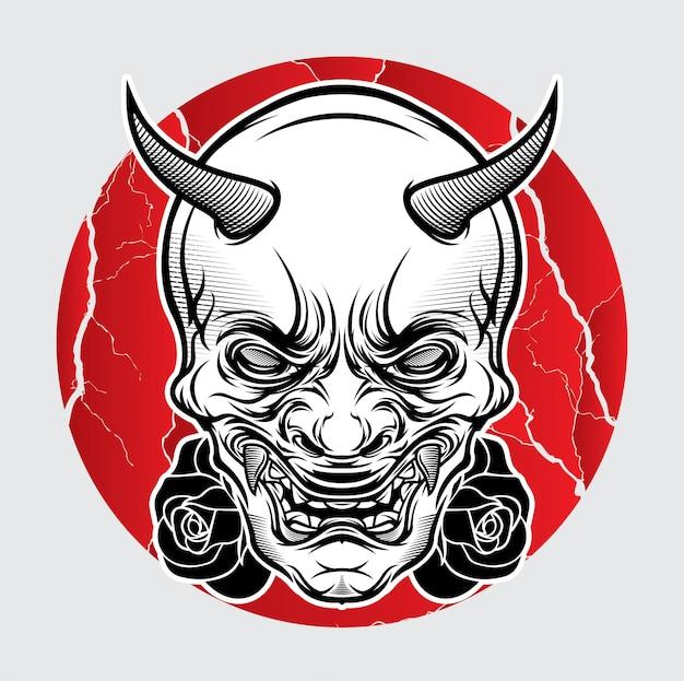 Tatuagem japonesa de máscara oni Vetor Premium