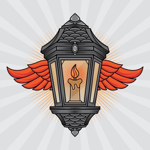 Tatuagem tradicional de lanterna e asa Vetor Premium