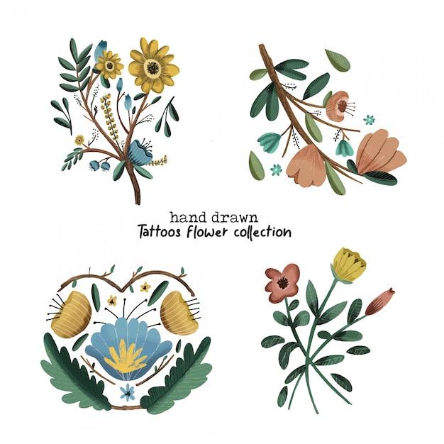 Tatuagens flor coleção mão desenhada Vetor Premium