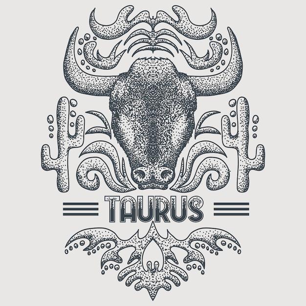 Taurus zodiac vintage Vetor Premium