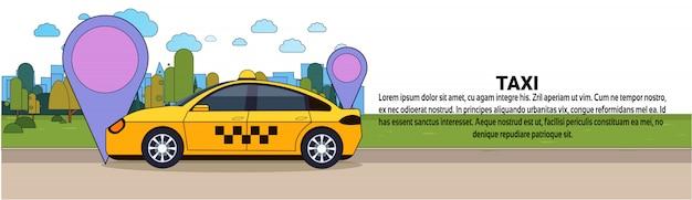 Táxi carro com sinal de localização gps online táxi conceito de serviço modelo de banner horizontal Vetor Premium