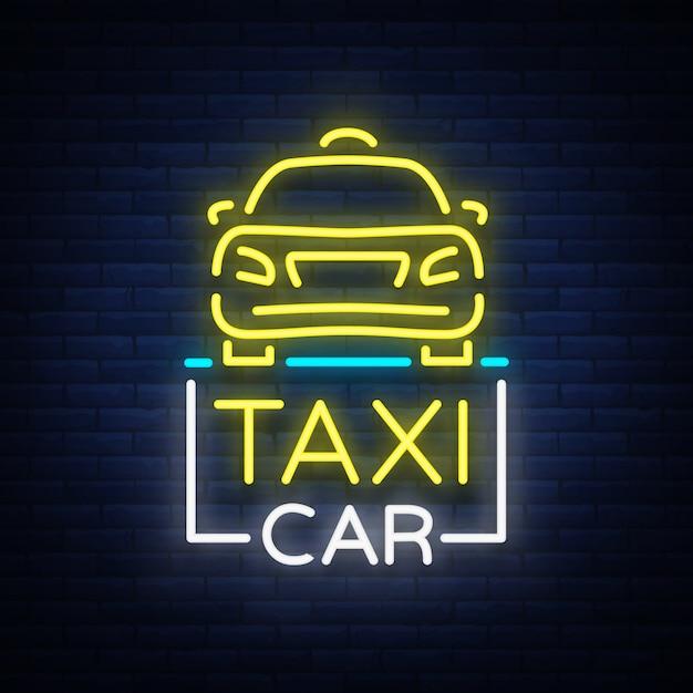 Táxi carro design sinal de néon. Vetor Premium