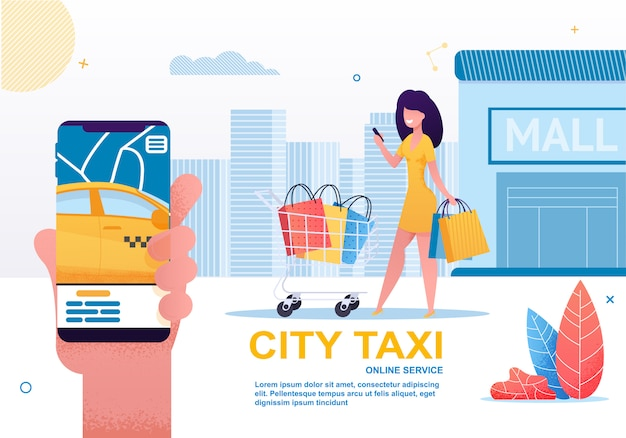 Táxi da cidade, compartilhamento de carro e serviço de aluguel no celular. Vetor Premium