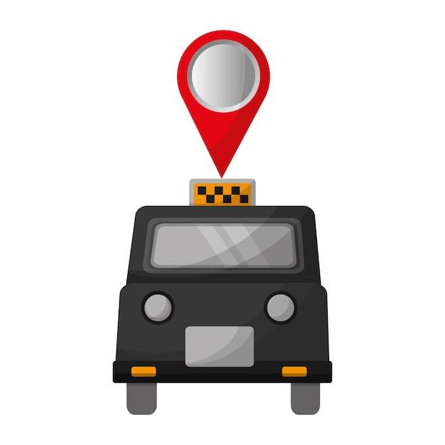 Táxi de londres com design ilustração pin localização vector Vetor Premium