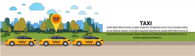 Táxi moderno carro com sinal de localização gps táxi on-line conceito de serviço de ordem modelo de banner horizontal Vetor Premium