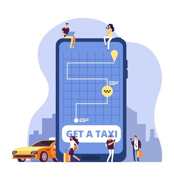 Táxi móvel. serviço de táxi on-line e pagamento com aplicativo para smartphone. pessoas pedindo táxi no enorme telefone celular. Vetor Premium