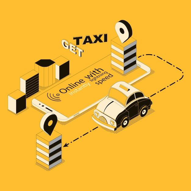 Táxi on-line isométrica, app para smartphone Vetor grátis