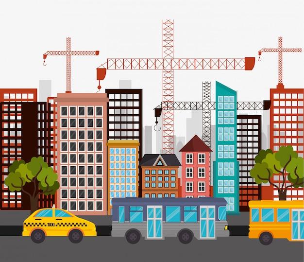 Táxi ônibus cidade rua guindaste construção Vetor grátis