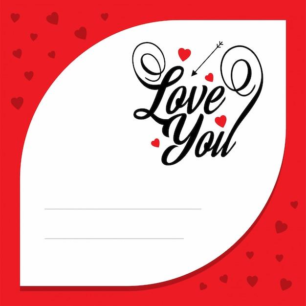 Te amo com carta de amor vermelha Vetor grátis