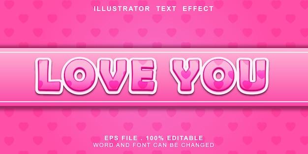 Te amo efeito tex editável Vetor Premium