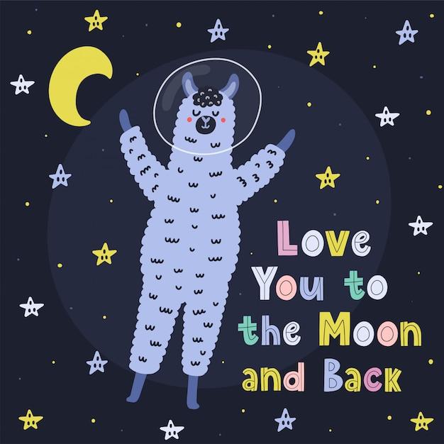 Te amo para o cartão de lua e costas com uma lhama bonito. imprimir com engraçado alpaca e mão desenhada letras. ilustração Vetor Premium