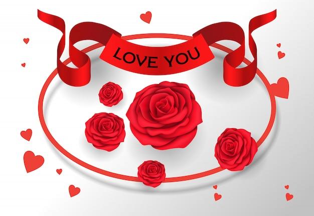 Te amo rotulando na fita com rosas Vetor grátis