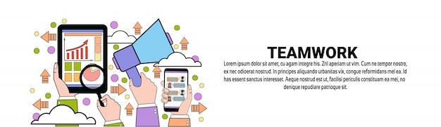 Team business teamwork concept modelo de banner horizontal Vetor Premium