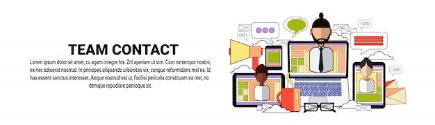 Team contact cooperation teamwork conceito banner horizontal modelo Vetor Premium