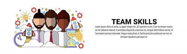 Team skills development business concept modelo de banner horizontal Vetor Premium