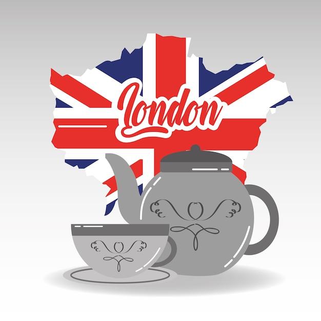Teapot de porcelana de mapa de londres e xícara de chá com prato Vetor Premium