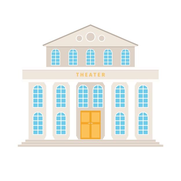 Teatro de construção com desenhos animados de colunas Vetor Premium