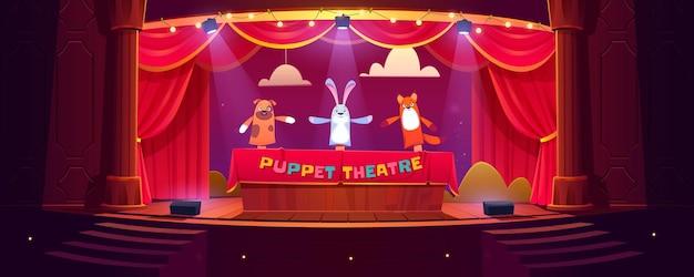 Teatro de fantoches no palco, bonecos engraçados fazem show para crianças em cena com cortinas vermelhas Vetor grátis