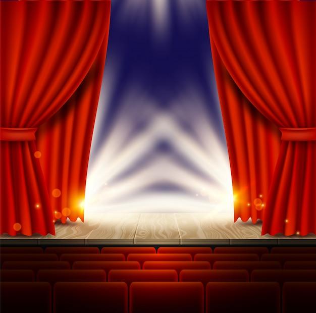 Teatro, ópera ou cinema cena com cortinas vermelhas Vetor Premium