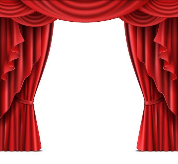 Teatro, palco, vermelho, cortinas, realista, vetorial Vetor grátis