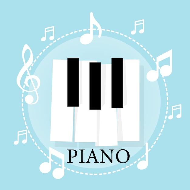Teclado de piano de música com notas. modelo de plano de fundo do cartaz Vetor Premium