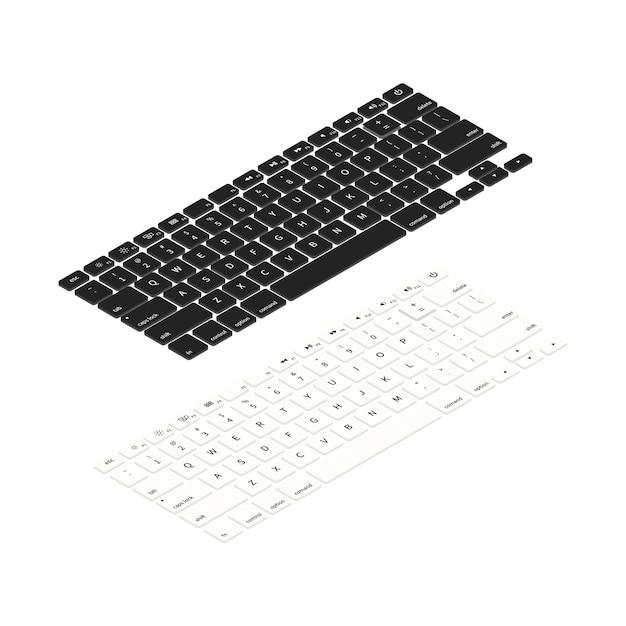 Teclados de laptop preto e branco em vista isométrica Vetor Premium