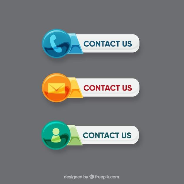 Teclas de contato com diferentes ícones Vetor grátis