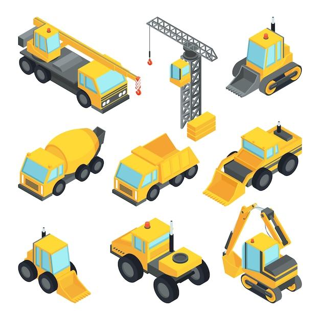 Técnica diferente para construção. carros isométricos Vetor Premium