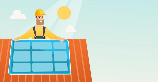 Técnico instalando painel solar. Vetor Premium