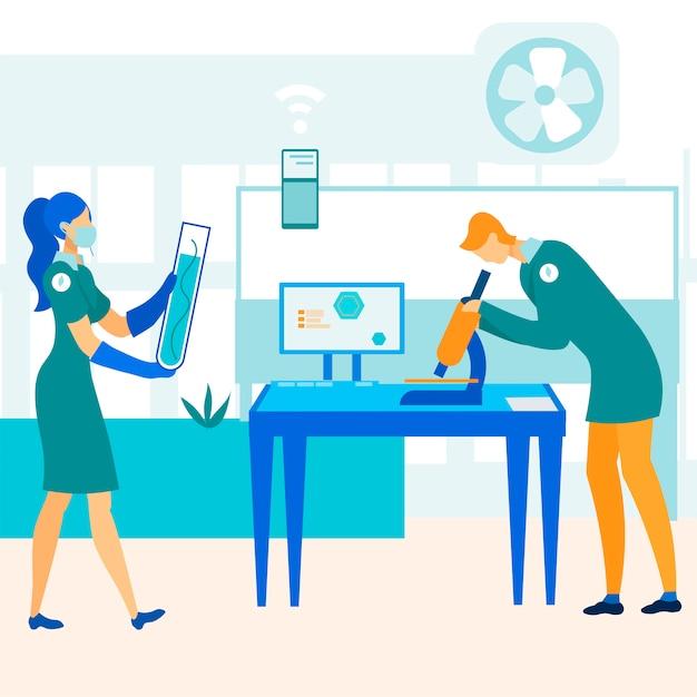 Técnicos de laboratório testando produtos de qualidade. Vetor Premium