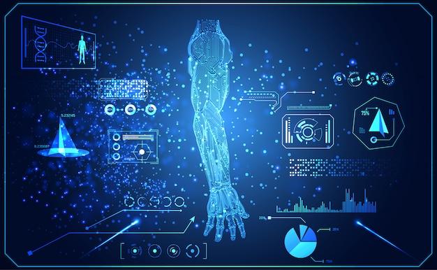 Tecnologia abstrata ai braço digital Vetor Premium
