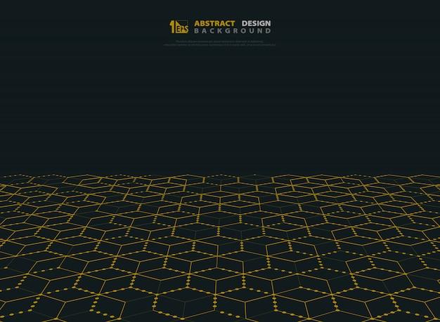 Tecnologia abstrata do hexágono da cor do ouro do fundo moderno. Vetor Premium