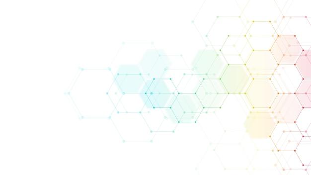 Tecnologia abstrata ou fundo médico com padrão de forma de hexágonos. conceitos e ideias para tecnologia de saúde, medicina inovadora, saúde, ciência e pesquisa. Vetor Premium