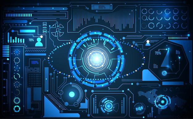 Tecnologia abstrata ui conceito futurista ai interface hud Vetor Premium