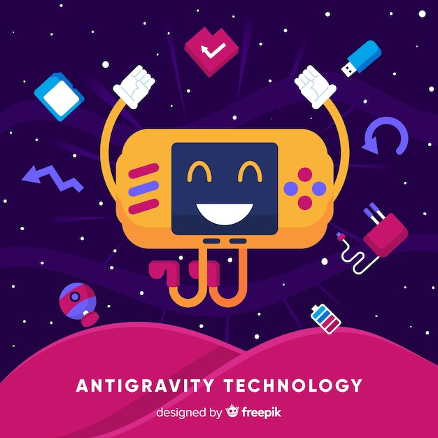 Tecnologia anti-gravidade com elementos Vetor grátis