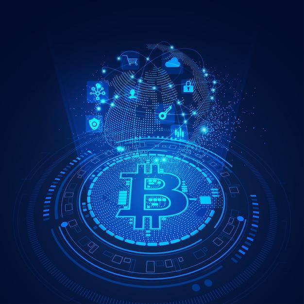 Tecnologia bitcoin Vetor Premium