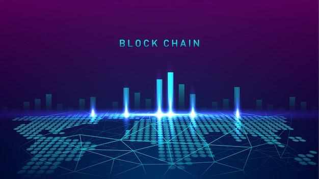 Tecnologia blockchain com teste de conceito de conexão global Vetor Premium