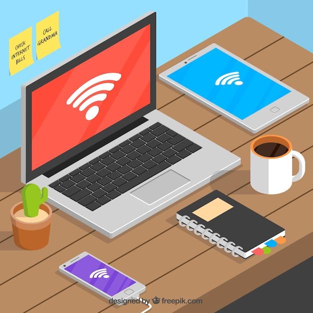 Tecnologia conectada por wifi Vetor grátis