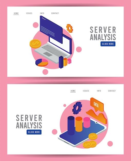 Tecnologia de análise de dados com computadores laptop e tablets. Vetor Premium