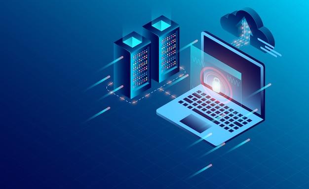 Tecnologia de armazenamento em nuvem de sala de servidor de datacenter e processamento de dados grande Vetor Premium