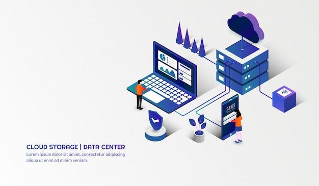 Tecnologia de armazenamento em nuvem e conceito de data center Vetor Premium