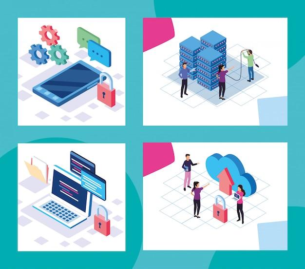 Tecnologia de big data com pessoas e dispositivos vector design ilustração Vetor Premium