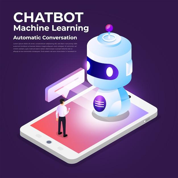 Tecnologia de bot de bate-papo de conceito isométrico. mensagem de bate-papo de máquina de inteligência artificial por aprendizado de máquina. ilustrar. Vetor Premium