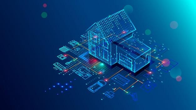 Tecnologia de casa inteligente de interface, segurança de controle e automação de casa inteligente Vetor Premium