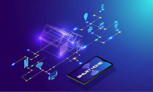 Tecnologia de casa inteligente. Vetor Premium