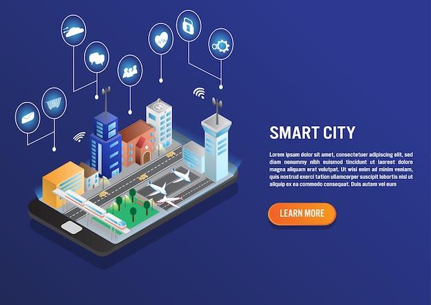 Tecnologia de cidade inteligente em design vector isométrica Vetor Premium