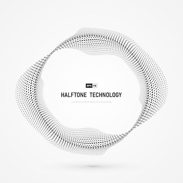 Tecnologia de círculo de meio-tom do ponto abstrato. Vetor Premium