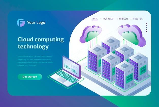 Tecnologia de computação em nuvem e conceito de sala do servidor. modelo de página de destino. isométrico Vetor Premium